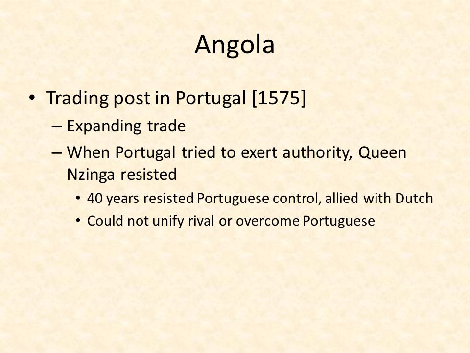 Angola Trading post in Portugal [1575] Expanding trade